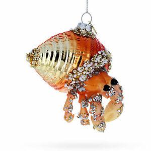 Orange Crab Glass Christmas Ornament