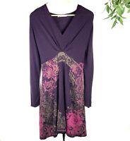 Anthropolgie Aldomartins Sweater Dress Womens Size 12 Pink Purple Floral Damask
