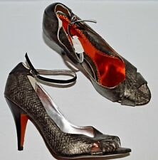 LUICHINY NEW 10 M PEWTER SNAKE PRINT LEATHER OPEN TOE ANKLE STRAP PUMPS HEELS