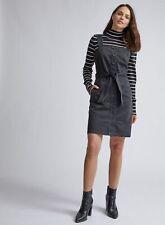 Dorothy Perkins Womens Black Pinafore Denim Mini Dress Sleeveless Belt Detailing