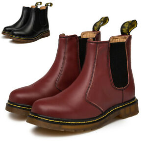 UK Womens Chelsea Boots Mens Classic Real Leather Ankle Bootie Fur Shoes Slip On