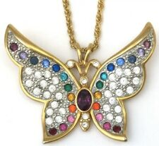 VINTAGE BUTTERFLY NECKLACE PENDANT RHINESTONE GOLD TONE METAL INSECT JEWELRY