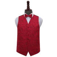 DQT Woven Floral Burgundy Mens Wedding Waistcoat & Bow Tie Set S-5XL