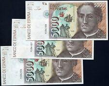 5000 PESETAS 1992 - TRIO CORRELATIVO - SIN SERIE - S/C PLANCHA