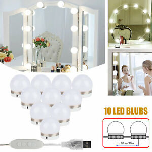 Hollywood Style LED Vanity Mirror Lights Kit for Makeup Dressing Deco 10 Bulbs