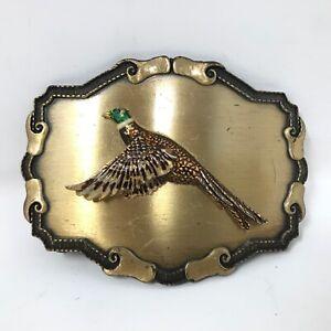 VTG Raintree Ringneck Pheasant Flying Game Bird Belt Buckle Color Green Brown