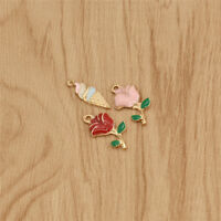10 pcs Rose Flowers Ice-cream Charm Pendant DIY Jewelry Making Handcrafted Gift