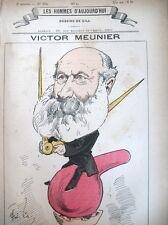 VICTOR MEUNIER ECRIVAIN SCIENTIFIQUE CARICATURE GILL HOMMES D'AUJOURD'HUI 1878