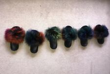 Multi Colour Luxury Real Fox Fur Sliders Indoor Outdoor Slipper Shoes Stylish