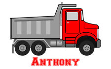 Red Dump Truck Iron-On T-Shirt Transfer w/FREE Personalization