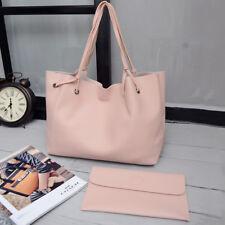 Womens 2pcs Ladies PU Leather Tote Shoulder Handbag Purse Clutch Shopping Bag UK LIGHTGRAY