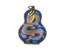 Vintage Locket W/ Cloisonné Enamel Chinese Style Dragons & Gilt Interior