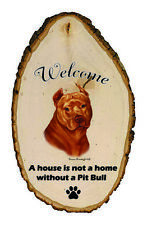 Outdoor Welcome Sign (Tb) - Orange American Pit Bull Terrier 51406