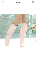 Pink Casual Slip On Knee High Slouch Riding Boots With Buckle for Women Size 36