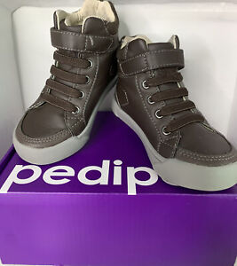 Pediped Toddler Kid Boys Size  7.5-8 Brown Leather  Shoes Flex System Hook Loop