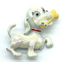 Vintage Pin Cute Dog With Bone Iridescent Enamel Red Collar Yellow Puppy Pet A11