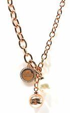 Collana donna gioielli Rebecca ottone placcato oro rosa 24 kt pendenti con perla