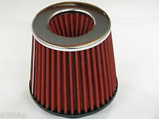 """Performances haut débit cône filtre à air (100 mm) 4 """"pouces de diamètre du cou rouge / chrome"""