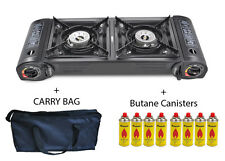 Camping Gas Stove Double Burner Portable Cooker Carry Bag Butane BBQ Outdoor