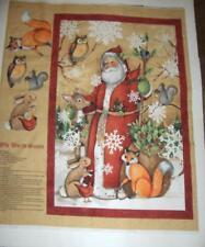 Old World Santa Vintage Christmas Winter Animals Quilt Wall Panel Cotton Fabric