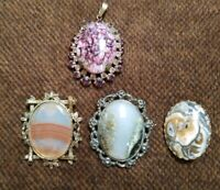 VINTAGE GOLD TONE BROOCH WITH AN UNUSUAL STONES moss agate PENDANT set of 4