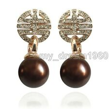 Genuine 12mm Brown South sea shell pearl 14K GP CZ Stud Dangle Earrings AAA