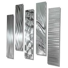Set of 5 - Silver Abstract Metal Wall Art Accents by Jon Allen - 5 Easy Pieces