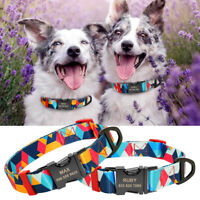 Personalised Colorful Dog Collars Pet Name ID Laser Engraved with Metal Buckle