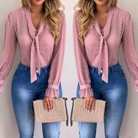 Plus Size Women Ladies Lace Chiffon Tops Blouse V Neck Tie Long Sleeve T-Shirt