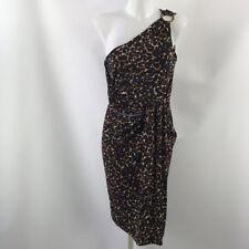 Michael Kors Brown Animal Print One Shoulder Sheath Dress Size 8
