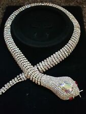 Designer Style Inspired Vintage snake  Statement necklace Crystal