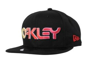 OAKLEY HAT 6 PANEL GRADIENT HAT LOGO BLACK CAP SNAPBACK 1 SZ 900145-03C NWT