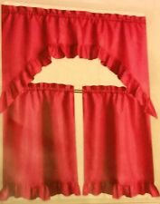 "3 pc Ruffled Kitchen Curtains Set, Swag 60""x36"" & 2 Tiers 30""x36"", PINKISH"