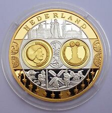 Netherlands 10 Euro 2002 Proof Silver 999 with 24K Gold Plated Coin / Medal