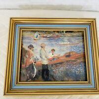 "Renoir Oarsmen At Chatow Print Framed Glass 11"" X 9"" National Gallery Art"