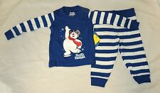 New Baby Frosty the Snowman Pajamas Size 12 M Long Sleeve Christmas Unisex Blue