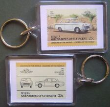 1963 Ford Lotus Cortina Car Stamp Keyring (Auto 100 Automobile)