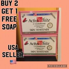 Active White L- Glutathione Skin Whitening Slimming Pill.BUY 2 GET 1 FREE SOAP