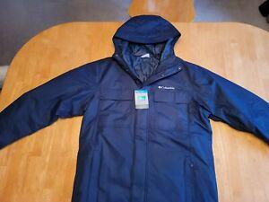 Columbia Men's Ten Falls Waterproof Full Zip Hooded Jacket Dark Blue Size Medium