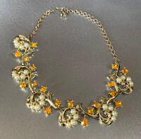 "Vintage Ornate Faux Pearl & Citrine Rhinestone Gold Tone Choker Necklace 14"""