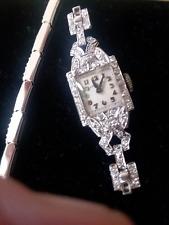 Art Deco Hamilton Platinum Diamond Wrist Watch Vintage