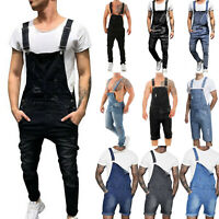Men's Denim Dungarees Jumpsuit Casual Jeans Overalls Cargo Shorts Pants Trousers