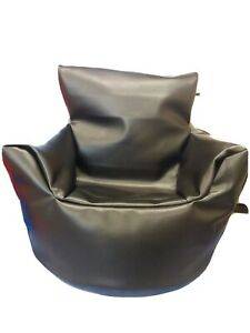 BRITISH MADE Black Child Faux Leather - Beanbag Chair SUPPORT UK half /price