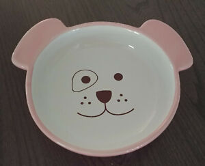 PetRageous Designs DOG BOWL Hand Crafted Circle Patch Eye Ears Pink Small Pup
