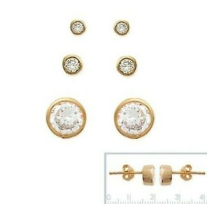 Man Earrings Nails Tire Zirconium New Gold Plated Diameter of Your Choice