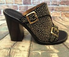 Chloe' calf leather gold studded black mules block heel size 38 Made in Italy