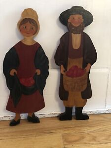 Vintage Folk Art Signed AMISH Man & Woman Pair Hand Painted Wood Cutout Artwork