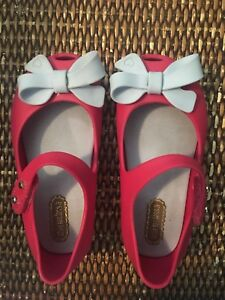 SIZE 7 Mini Melissa Hot Pink With bow Shoes