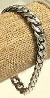"""Vintage Heavy Sterling Silver Curb Chain Bracelet Armbrust Chain 7 1/4"""" 21.89g"""