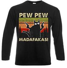 PEW Pew madafakas Vintage Funny Langarm T-Shirt Katze Retro Kätzchen Weihnachtsgeschenk